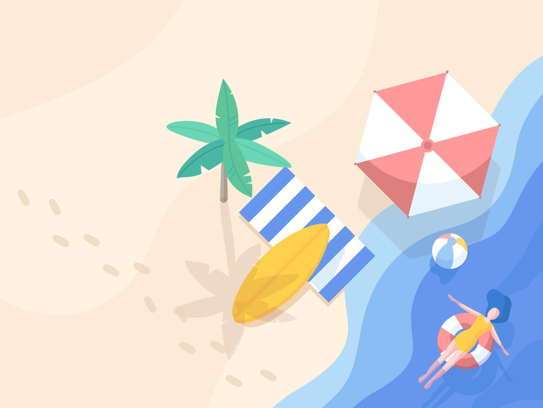 summer swimming palmtree sea beach graphicdesign artwork summer design blue graphic illustration