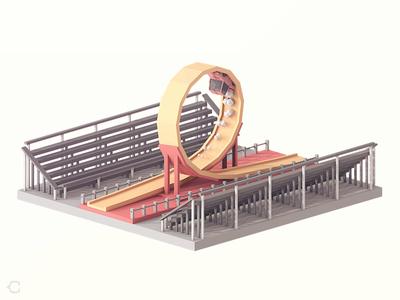 loop-the-loop low poly loop car illustration 3d
