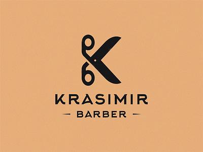 Krasimir barber lettermark barbers scissors barber logo barber shop k letter barbershop barber