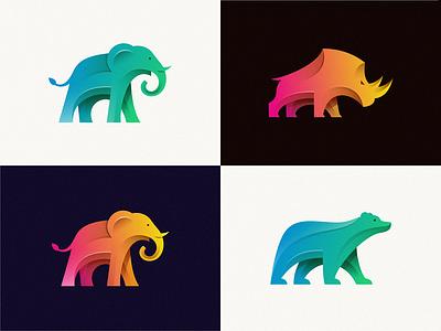 animals collection animals illustrated logo animals logo