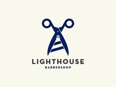 Lighthouse / barber shop scissors barber shop lighthouse logo lighthouse