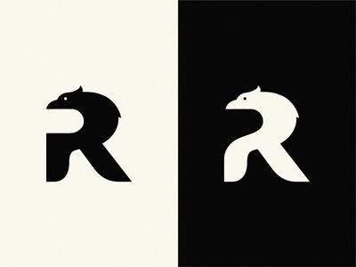 Rookies letter R r lettermark bird bird logo