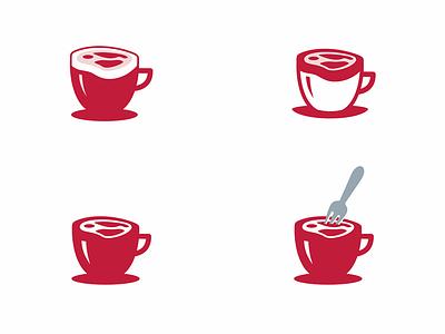 coffee and meat restaurant logo coffeeshop coffee meat coffee shop coffee cup