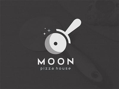 Moon / pizza house house pizza menu moon pizza logo pizza cutter