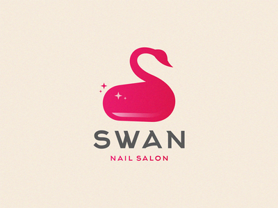 swan bird logo nature nail salon