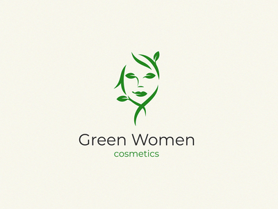 green women cosmetics face girl women green logo