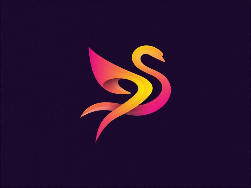 Swan logo bird swan