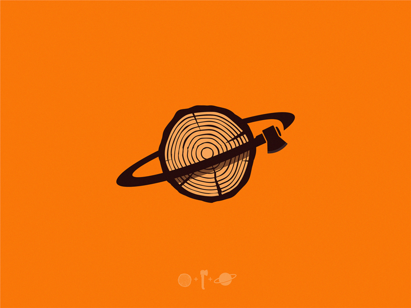 Wood Planet planet wood icon illustration symbol logo