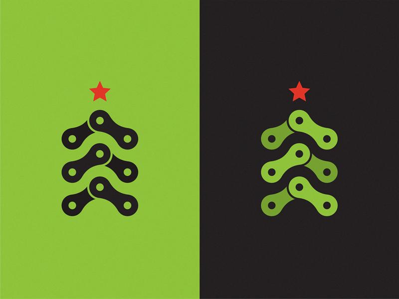 Christmas bike icon illustration symbol logo