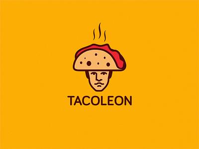 Tacoleon (taco+Napoleon) design icon brand logo