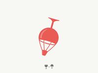 wine travel / glass + air balloon