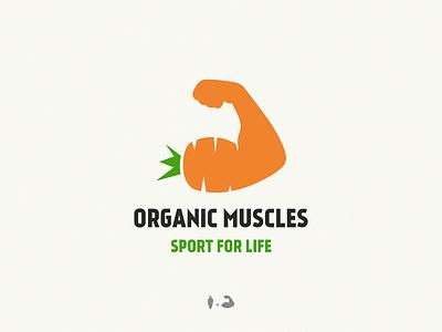organic Muscles design brand symbol icon logo