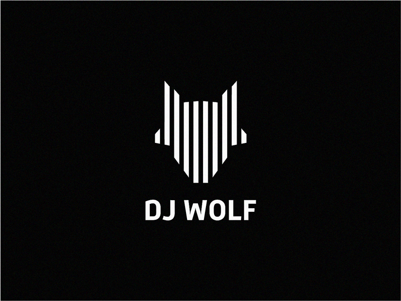 minimalist bar white and black dj wolf logo