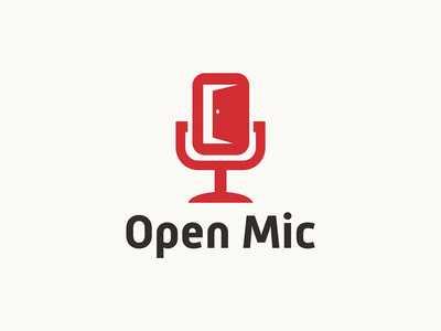Open Mic / door + mic design brand symbol icon logo