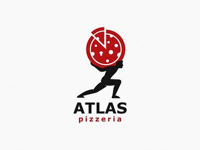 Atlas pizzeria design brand symbol icon logo pizza atlas
