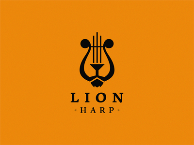 lion + harp / logo idea