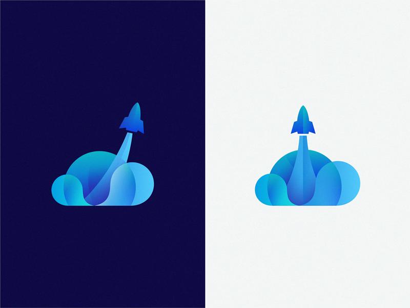 Rockets cloud brand symbol icon logo rockets