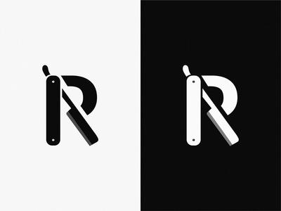 Razor letter R branding art letter design brand symbol logo icon razor