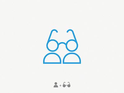 Optical (person + glasses) branding identity sign illustration design brand symbol icon logo optical art optical