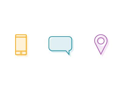 Single-line icons to invigorate statistics purple shadow location marker gps conversation chat phone icons icon line single