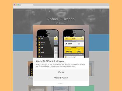 Portfolio redesign - Content pop-up portfolio redesign design personal website flat projects bio web ux ui pop up content work link itunes android responsive