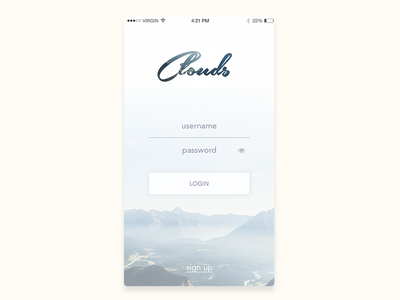 Daily UI #001 - Sign Up minimal clouds sky ux simple ui app login signup dailyui 001