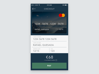 Daily UI #002 - Credit Card Checkout credit card ux card credit payment checkout dailyui 002 simple ui app
