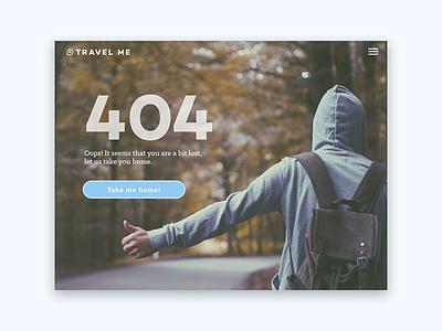 Daily UI #008 - 404 Page web ux ui minimal hitchhiking travel dailyui 404 page 404