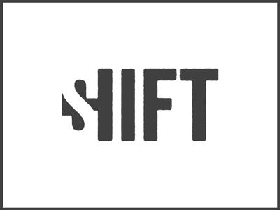 SHIFT logo negative shift black white brand space typo identity