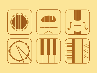Flat music app icons flat simple appicons icon music instruments guitar piano violin drum gypsy accordion set
