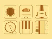Flat music app icons