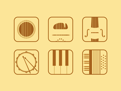 Flat music app icons (Rebound) flat simple appicons icon music instruments guitar piano violin drum gypsy accordion set