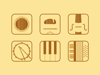 Flat music app icons (Rebound)