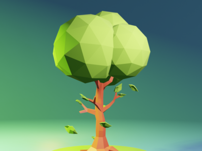Lonely Tree blender 3d lowpoly game plant illustration