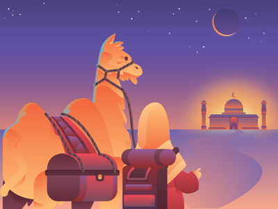 Eid Mubarak 1438 Hijr eid mubarak camel mosque wonderful illustration islam moslem ramadhan