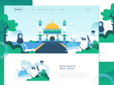 Qurban - Idul Adha landing page muslim food goat greeting mosque home ui eid qurban