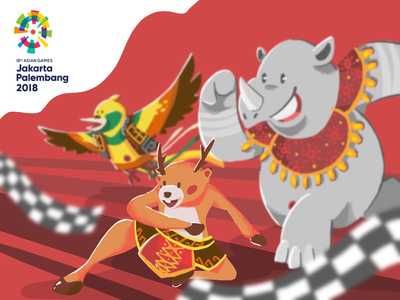 Ready for Asian Games! athletic jakarta indonesia contest event illustration mascot asian games sport