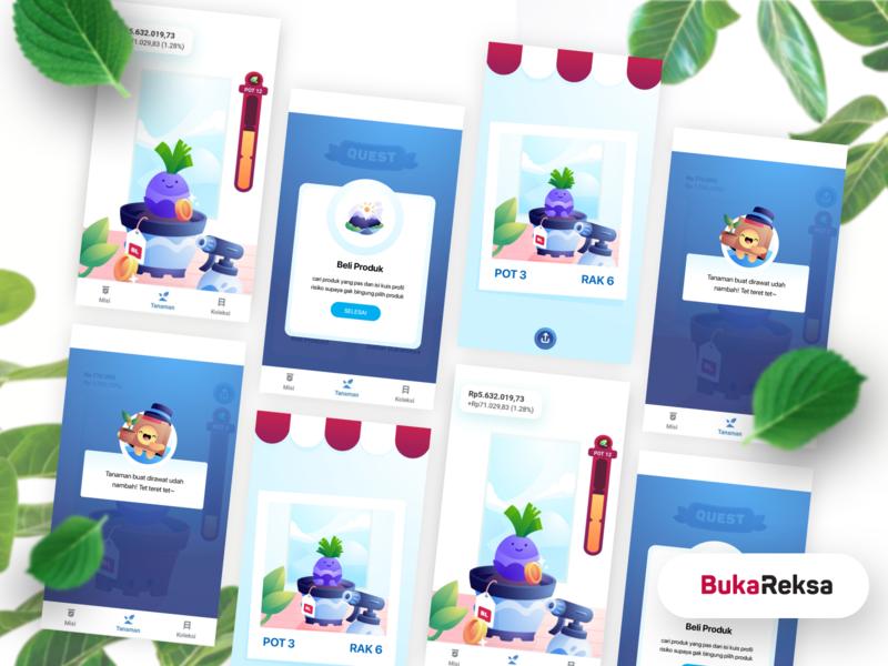 BukaReksa Gamification ui mobile app mobile ui mobile finance stocks trading investment game design gamification game