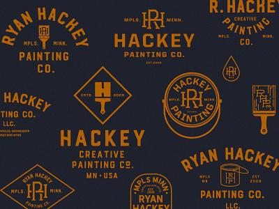RHP Logos monogram paint bucket painting brushes branding painting logo