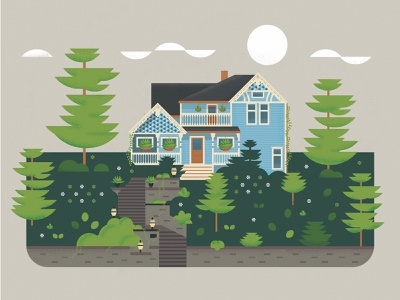 St. Paul House trees summer geometric illustration yard home victorian house