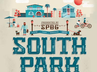 Southpark Walkabout poster illustration lettering poster houses palm trees bike dogs cafe growler
