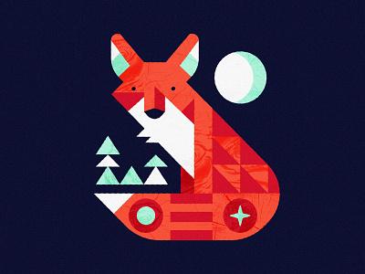 Night Fox moonlight trees geometric moon illustration