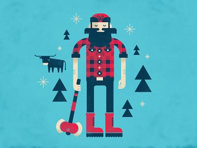 Mr. Bunyan illustration paul bunyan babe axe flannel beard mustache snowflakes trees