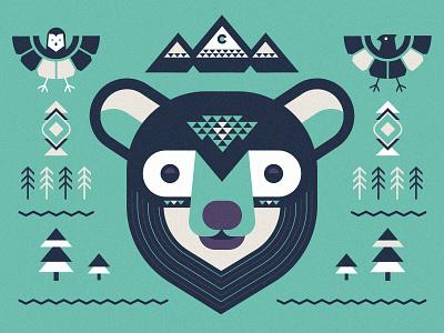 Bear cub elements illustration mountains hawk owl bear