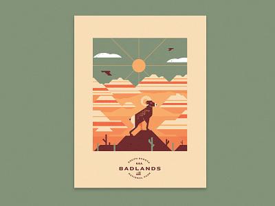 Badlands illustration bighorn sheep south dakota national parks badlands geometric