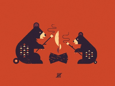 Raisin' a Toast geometric fire marshmallow bear cub cubs camping campfire bears illustration