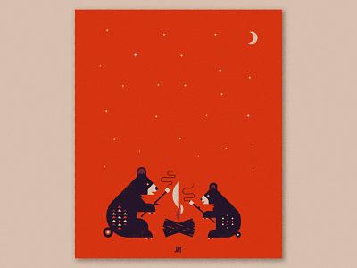 Bear Print marshmallows moon stars campfire cubs bears illustration