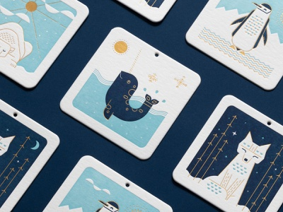 Holiday Critters 1 fox penguin polarbear narwhal letterpress coaster ornament