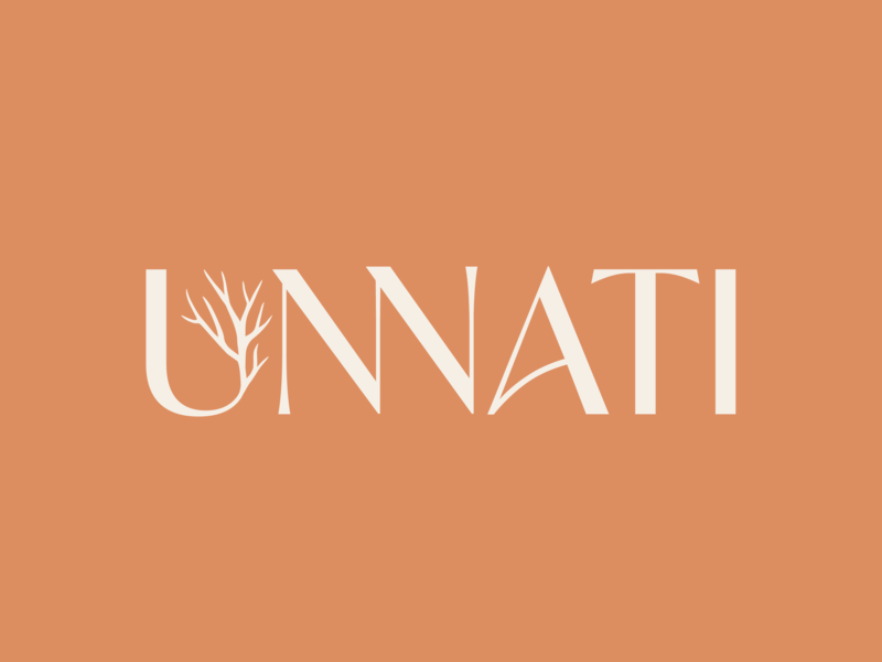 Unnati Logo brand design logo designer designer tree logo tree flat typography logotype logo logo design branding identity brand identity branding identity design identity branding design branding design