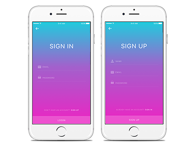iSO sign-in page design